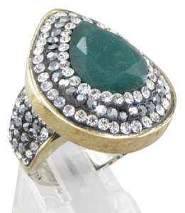 Other 925-SILVER-VINTAGE-ANTIQUE-FINISH-EMERALD-amp-TOPAZ-2-TONE-DROP-RING