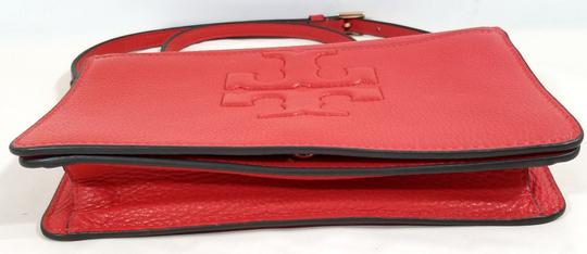 Tory Burch Strap Grained Leather Magnetic Snap-flap Exterior Slip Pocket Jacquard Lining Cross Body Bag