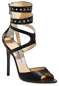 Jimmy Choo Strappy Ankle Strap Peep Toe Blade Hardware Black, Silver Sandals