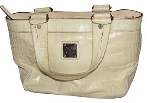Dooney & Bourke Style Great Everyday Excellent Condition '1975' Line Satchel in off white crocodile embossed leather