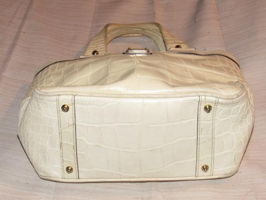 Dooney & Bourke Satchel/Tote Style Great Everyday Excellent Condition '1975' Line Satchel in off white crocodile embossed leather