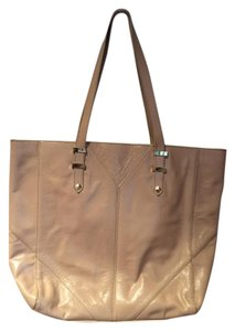 Badgley Mischka Leather Shoulder Tote in light tan