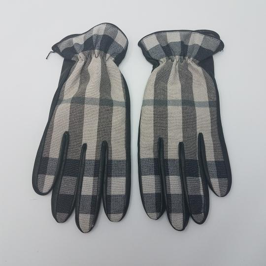 Burberry Black, grey Burberry Nova check plaid leather glitter gloves 7.5