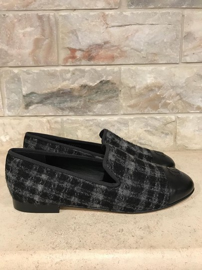 Chanel Loafer Moccasin Tweed Leather black Flats