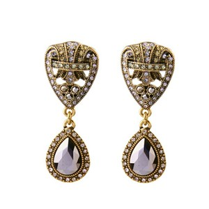 Other Art Deco Antiqued Gold Drop Earrings