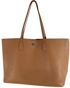 Tory Burch Pebbled Leather Flat Leather Handles Tote in Bark Brown/Light Gold/Gold