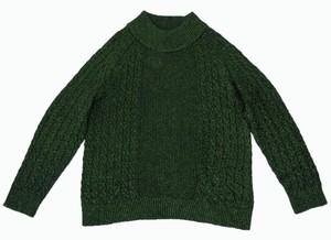 H&M Metallic Cable Knit Retro Green Sweater