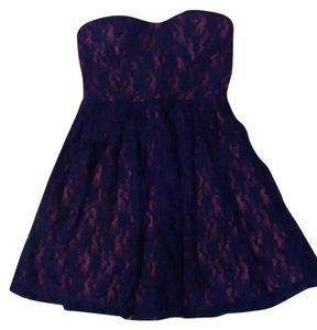Wet Seal short dress Purple with Navy Blue Lace on Tradesy
