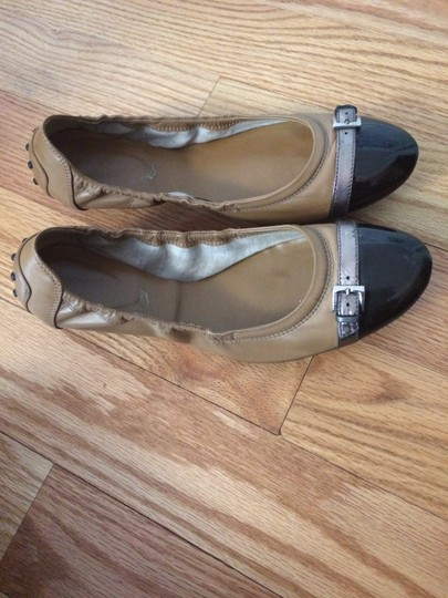 Tod's Leather Ballet Metallic Patent Leather Brown Flats