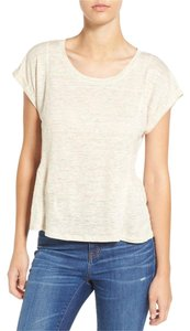 Madewell Linen Cream Peplum Rolled Sleeve T Shirt Heather Pearl
