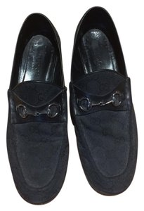 Gucci Loafers Silver Hardware Logo Black Flats