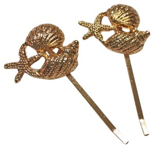 Anthropologie Gold Shell Hair Pins