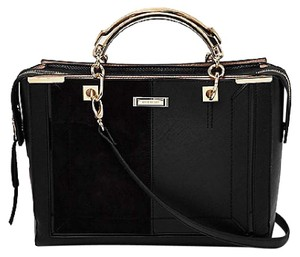 River Island Purse Gold Snakeskin Faux Suede Tote in Black