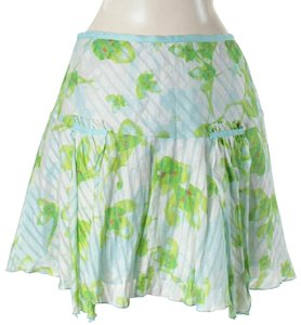 Diane von Furstenberg Silk Floral Striped Print Flare Mini Skirt