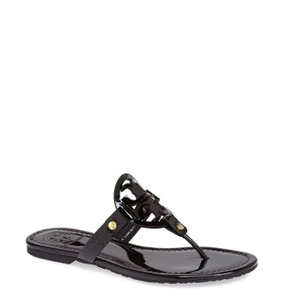 Tory Burch Miller Flip Flop Patent Leather Black Sandals