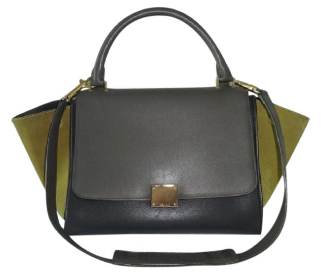 Céline Trapeze Tri-color Leather/Suede Very Good Gray/Black/Green Leather/Suede Shoulder Bag Céline Trapeze Tri-color Leather/Suede Very Good Gray/Black/Green Leather/Suede Shoulder Bag Image 1