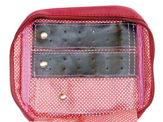 Style Asia Zippered Jewelry Caddy, Maroon with Dots, Nylon Microfiber Shell.