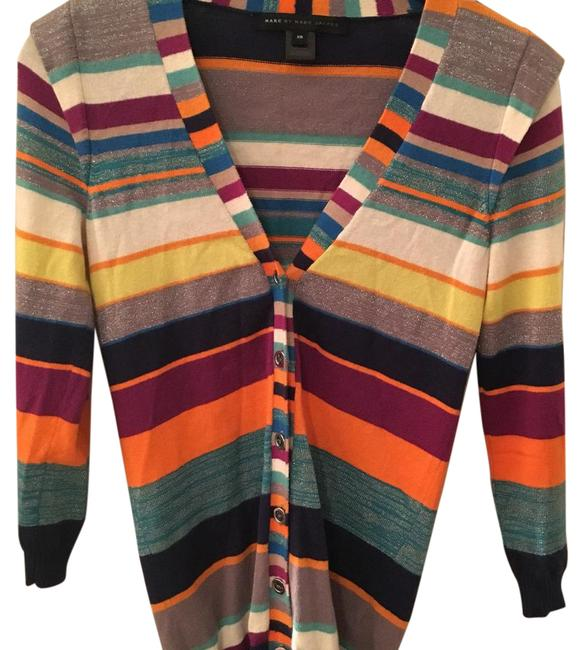 Preload https://img-static.tradesy.com/item/20618574/marc-by-marc-jacobs-multi-color-striped-cardigan-sweaterpullover-size-0-xs-0-1-650-650.jpg