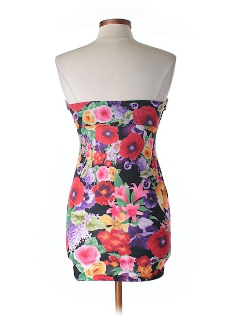 ASOS Strapless Floral Ruched Sheath Dress