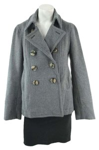 Marc Jacobs Wool Tortoise Button Pea Gray Pea Coat
