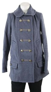Marc Jacobs Military Wool Gray Star Button Pea Coat