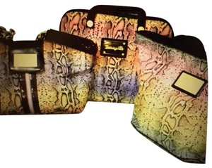 Betsey Johnson Snakeskin Purse, Tote & Laptop Bag - 3 Piece Set!!! Satchel in multi-colored purple yellow orange black