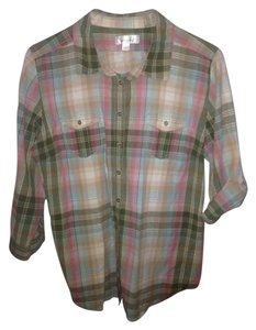 Dress Barn Button Down Shirt Plaid pink green