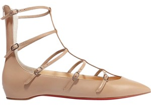 Christian Louboutin Louboutin Red Sole Pointed Toe Cage nude Flats