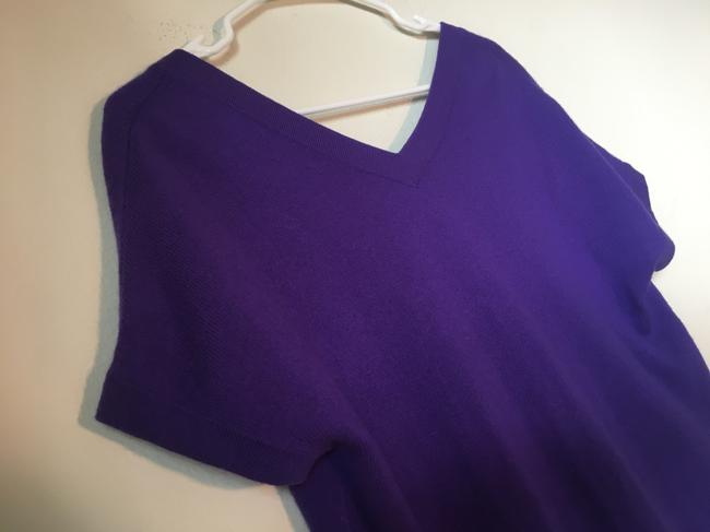 Theory Cashmere Sweater Tee Violet Low V Top Purple