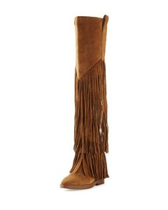 Ash Fringe Suede Over The Knee Brown Hidden Wedge Russet Boots