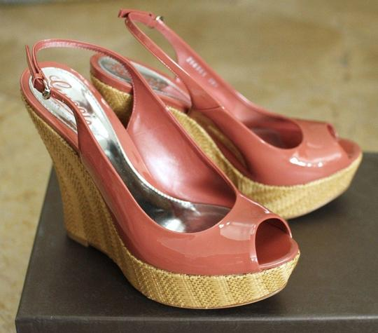 Gucci Patent Leather Wedges Coral Platforms