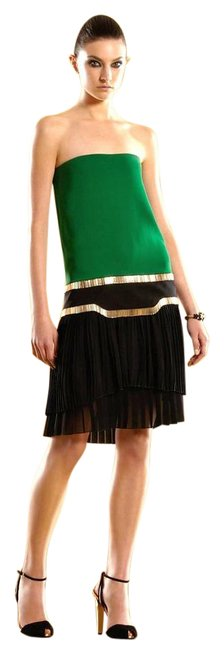 Item - Green/Black Runway Silk Strapless Multi Pleated 48 289710 Mid-length Night Out Dress Size 12 (L)