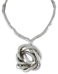 Other Silver Tone Long Gooseneck Necklace