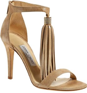 Jimmy Choo Tassel Shiny Tan Sparkle Gold Nude Sandals