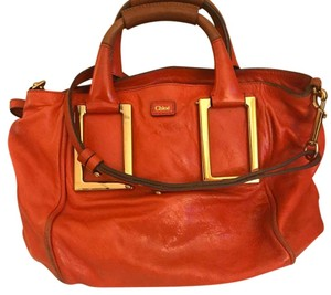 Chloé Satchel in Coral , Gold-tone hardware