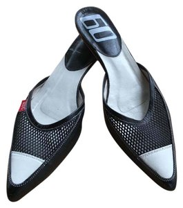 Miss Sixty Pointed Toe Leather Mesh Top Slip On Black and white Mules