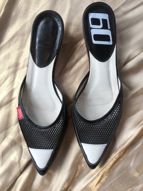 Miss Sixty Black and White Colorblock Leather Mesh Kitten Heel Mules/Slides Size EU 39 (Approx. US 9) Regular (M, B) Miss Sixty Black and White Colorblock Leather Mesh Kitten Heel Mules/Slides Size EU 39 (Approx. US 9) Regular (M, B) Image 3