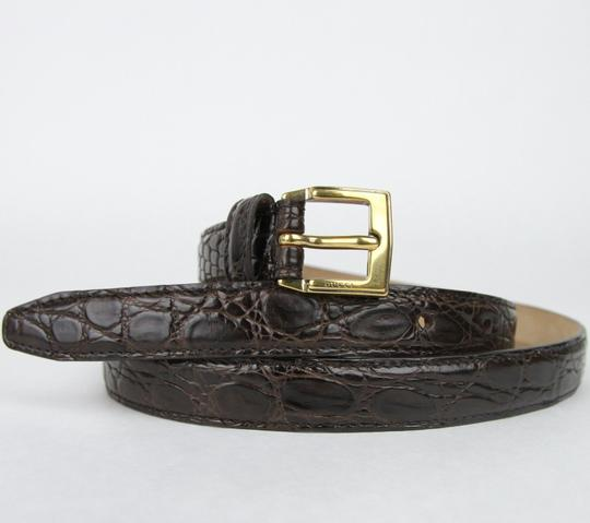Gucci Dark Brown Skinny Crocodile Belt Gold Buckle 80/32 269813 E7I0T 2140