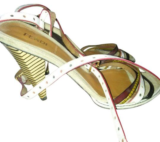 Fendi white multi color straps Platforms