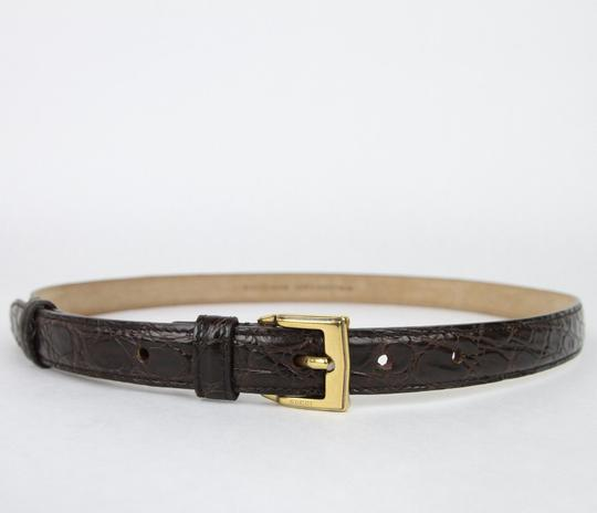 Gucci Dark Brown Skinny Crocodile Belt Gold Buckle 100/40 269813 E7I0T 2140