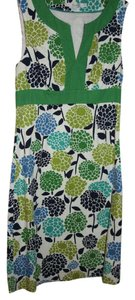 Boden short dress Green and blue floral on cream on Tradesy