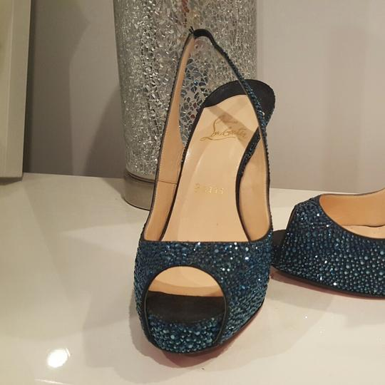 Christian Louboutin Blue, navy, sparkle Platforms