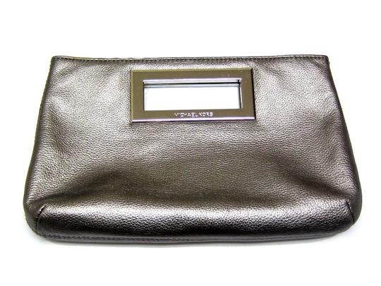 Michael Kors Metallic Silver Leather Gunmetal Clutch