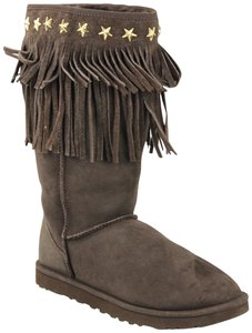 UGG & Jimmy Choo Gold Hardware Fringe Hem Studded Suede Brown Boots