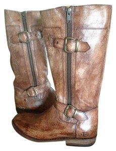 Bed|Stü Go-go Motorcycle Zipper Tan Leather Boots