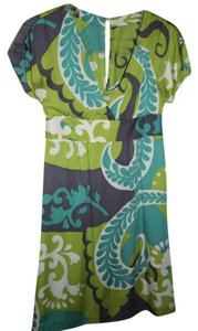 Boden short dress chartreuse green, turquoise, ivory, grey Silk on Tradesy