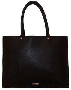 Rebecca Minkoff Leather Saffiano Handbag Tote in Black
