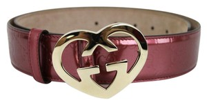 Gucci Patent Leather Belt Heart Shaped Gg Buckle 90/36 Pink 245856 6414