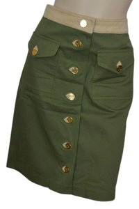 Tory Burch Military Vegan Leather Skirt Olive green