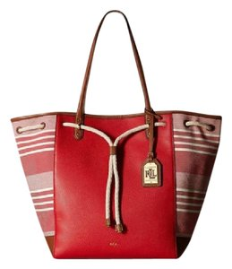 Lauren Ralph Lauren Large Leather Oxford Tote in RED